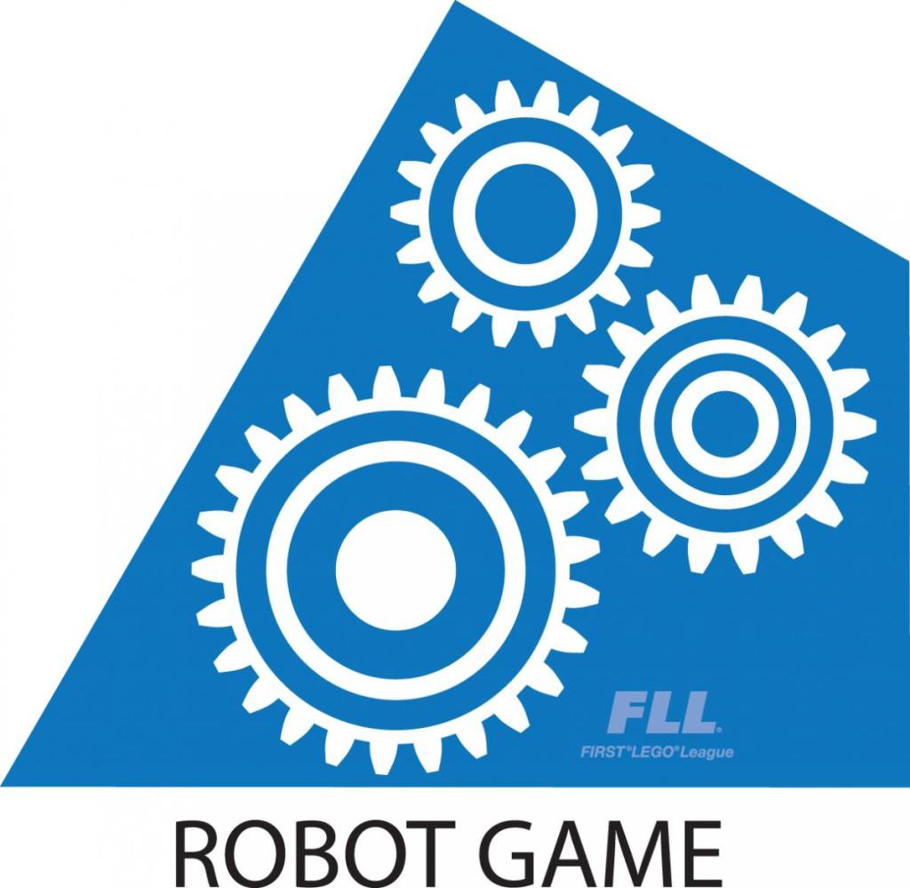 FLL Blue Robot Game triangle piece logo